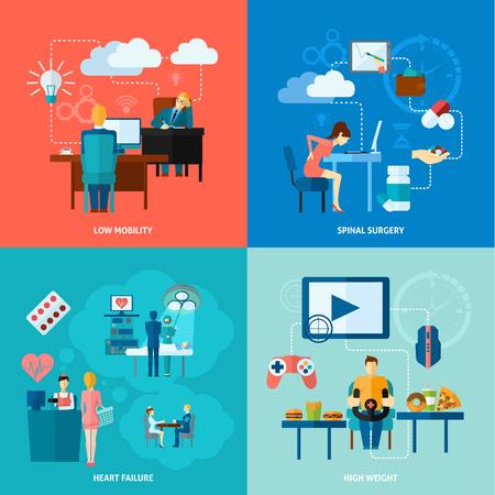 sedentario: Sedentarismo concepto de diseño conjunto con iconos planos bajos de movilidad aislado ilustración vectorial