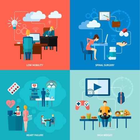 sit back: Sedentary design concept set with low mobility flat icons isolated vector illustration