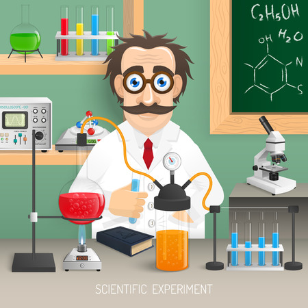 Scientist in chemistry lab with realistic scientific experiment equipment vector illustration Illustration