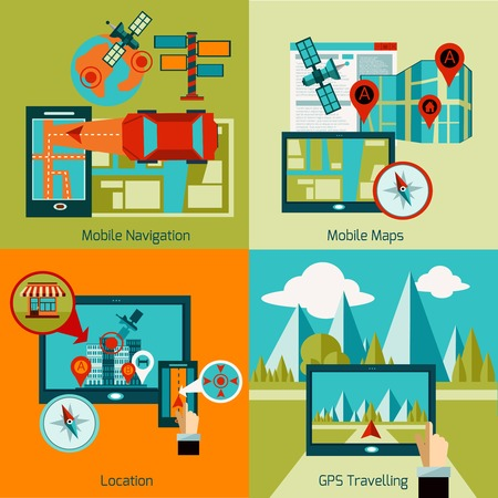 navegacion: GPS navigation design concept set with mobile maps flat icons isolated vector illustration