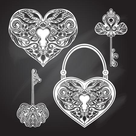lock: Chalkboard heart shape locks and retro style keys set isolated vector illustration