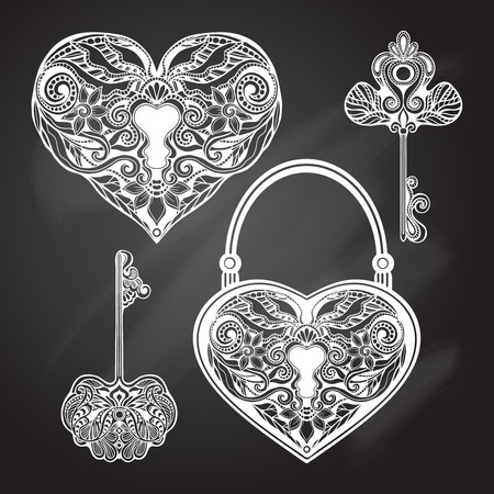 Chalkboard heart shape locks and retro style keys set isolated vector illustration