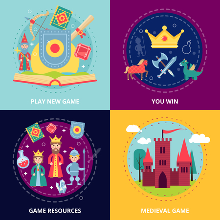 espadas medievales: Medieval concepto de dise�o del juego de conjunto con recursos iconos planos aislados ilustraci�n vectorial