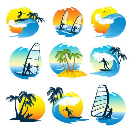 siervo: Surfing iconos conjunto con la playa sol y la gente en la ilustración del vector de onda aislado