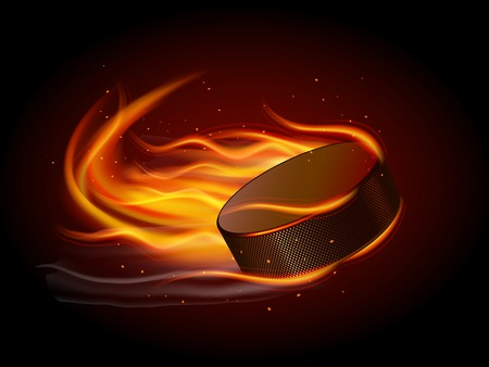 Realistic ice hockey puck in fire on black background vector illustration