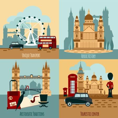 taxi: Londres concepto de diseño turístico conjunto con iconos de transporte y la historia ilustración vectorial aislado