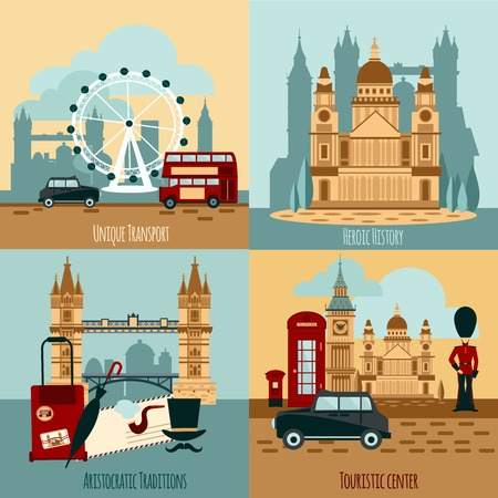 London touristic design concept set with transport and history icons isolated vector illustration