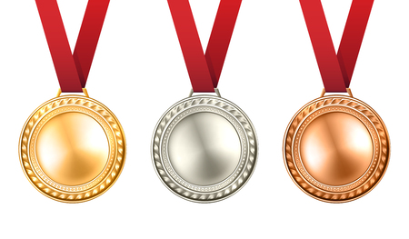 medals: Gold silver and bronze medals set with ribbons realistic isolated vector illustration