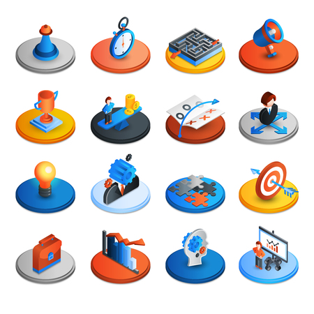 Business strategy and marketing ideas isometric icons set isolated vector illustration Stock Illustratie