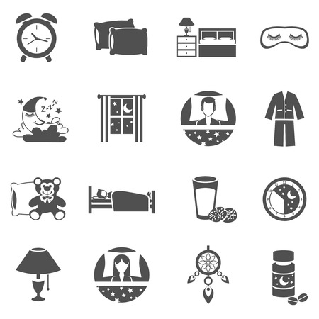 woman sleep: Sleep time black icons set with moon window and pajama isolated vector illustration