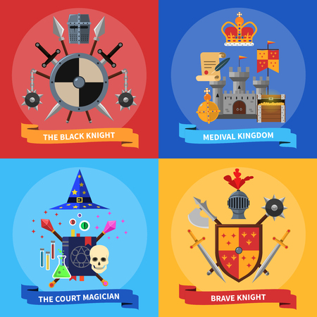 ballad: Medieval kingdom armored knights warriors and court magician 4 flat icons square banner abstract isolated vector illustration