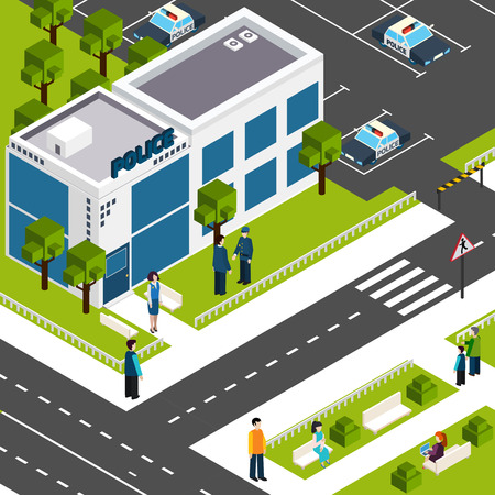 building lot: Police department station building street view with parking lot and surroundings background poster isometric abstract vector illustration