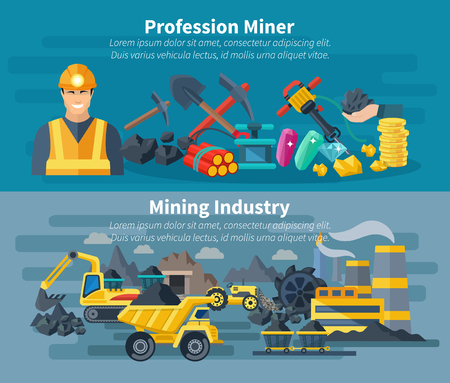 mining equipment: Mining banner horizontal set with professional miner avatar isolated vector illustration