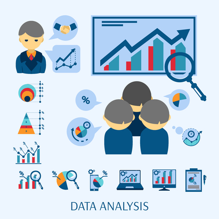 new business: Data analysis software for new business startup market research flat icons composition poster abstract isolated vector illustration Illustration