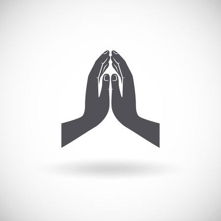 Praying hands flat religious symbol black icon isolated on white background vector illustration