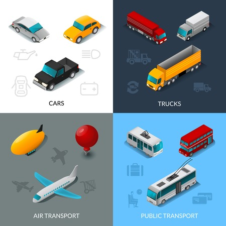public transportation: Transport design concept set with cars trucks air and public transport isometric icons isolated vector illustration