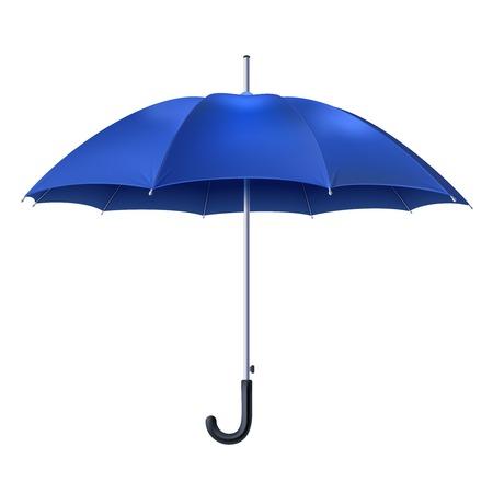 Realistyczne otwarta niebieski parasol na białym tle ilustracji wektorowych