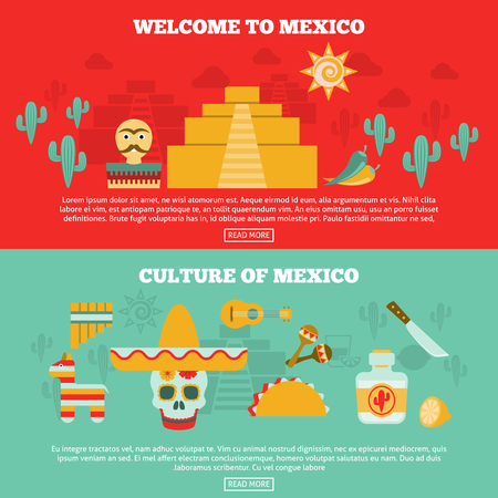 specialities: Mexican horizontal banners set with culture and tourism symbols flat isolated vector illustration Illustration