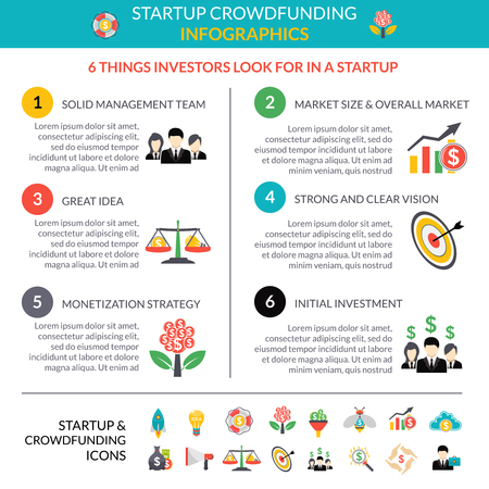 monetization: Business startup crowdfunding infographic layout poster with 6 important strategic hubs and pictograms symbols abstract vector illustration