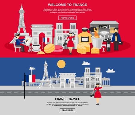 france: France horizontal banner set with travel and tourist symbols isolated vector illustration