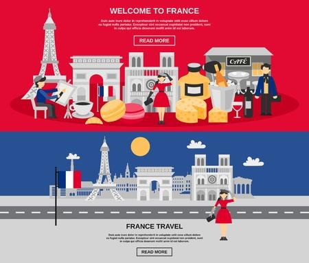 Francia banner horizontal establece con símbolos de viajes y turismo ilustración vectorial aislado
