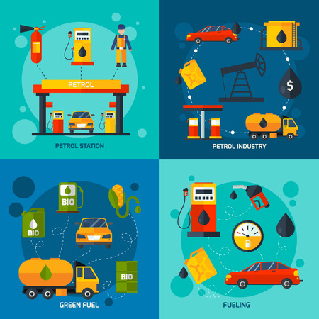 Oil extracting petrol company and green fuel station 4 flat icons square composition abstract isolated vector illustration Illustration