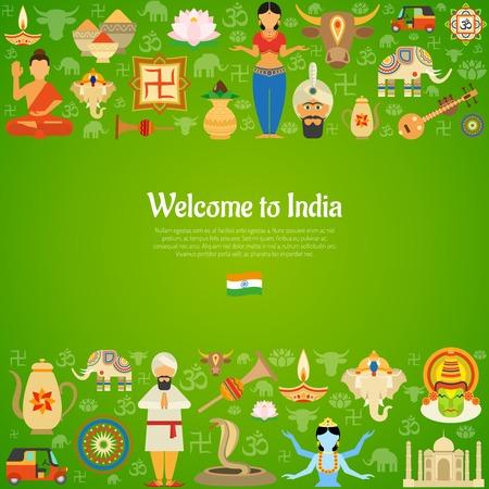 simbolos religiosos: Fondo decorativo de la India con la ilustración vectorial nacional símbolos culturales y religiosos Vectores