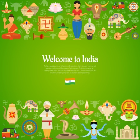 map of india: India decorative background with national cultural and religious symbols vector illustration