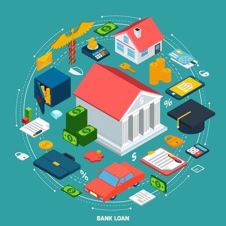 loan: Bank loan concept with isometric financial wealth icons set vector illustration Illustration