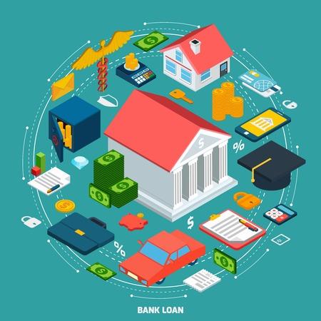 Concepto de préstamo del Banco con isométricos iconos riqueza financieros establecido ilustración vectorial