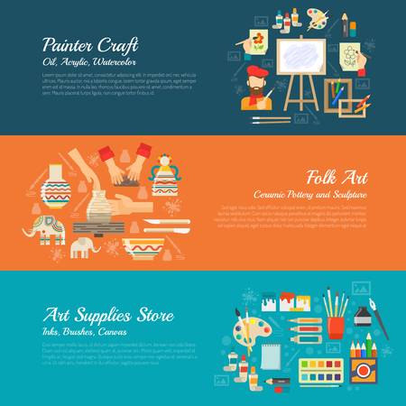 artists: Artist horizontal banner set with painter supplies elements isolated vector illustration Illustration