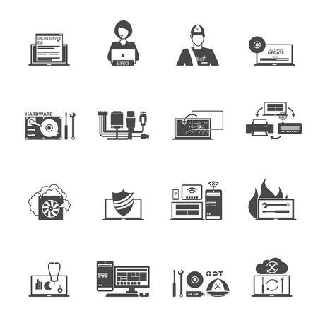 repair computer: Computer service black white icons set with technical support and settings symbols flat isolated vector illustration Illustration