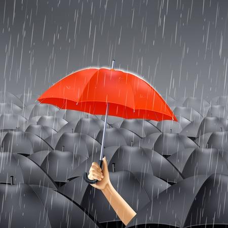 human: Human hand holding red umbrella under many black umbrellas realistic vector illustration Illustration