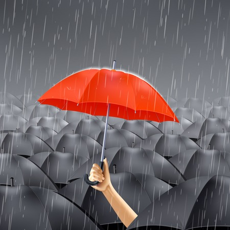 Human hand holding red umbrella under many black umbrellas realistic vector illustration Illustration