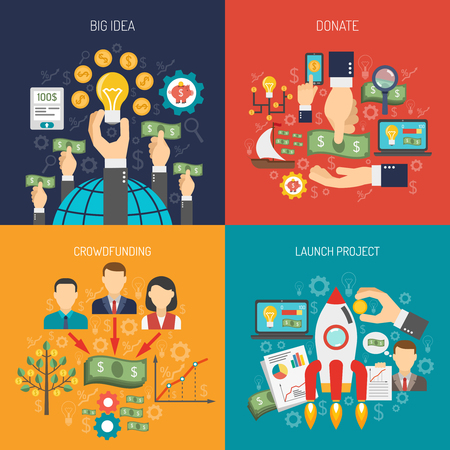 mobile marketing: Crowdfunding design concept set with project launch donation flat icons isolated vector illustration