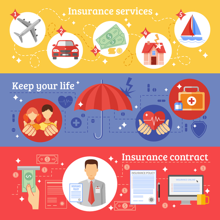 seguros: Seguros banners horizontales establecidas con un contrato de servicios de seguros y mantenimiento de sus s�mbolos de la vida aislada plana ilustraci�n vectorial