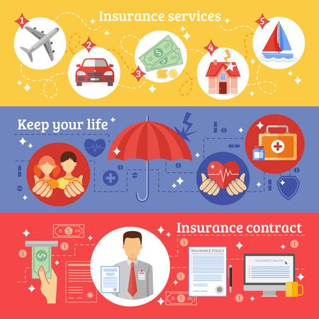 Versicherungen horizontale Banner mit Versicherungsdienstvertrag festgelegt und halten Sie Ihre Lebens Symbole flach getrennt Vektor-Illustration Vektorgrafik