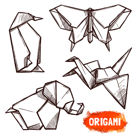 origami pattern: Hand drawn doodle style set of 4 origami figures penguin butterfly elephant swan isolated vector illustration