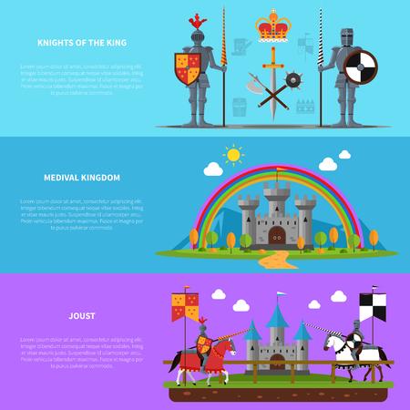 castillo medieval: Castillo reino medieval con caballeros y jinetes con armaduras pesadas banners horizontales planas conjunto abstracto aislado ilustración vectorial