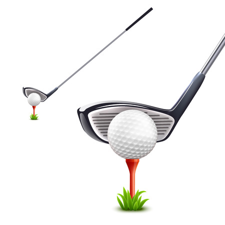 club: Golf realistic set with ball grass and club isolated vector illustration