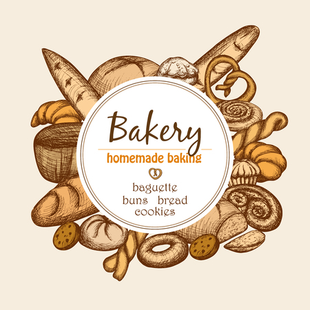 loaf of bread: Vintage bakery frame with hand drawn pastry and bread set vector illustration Illustration