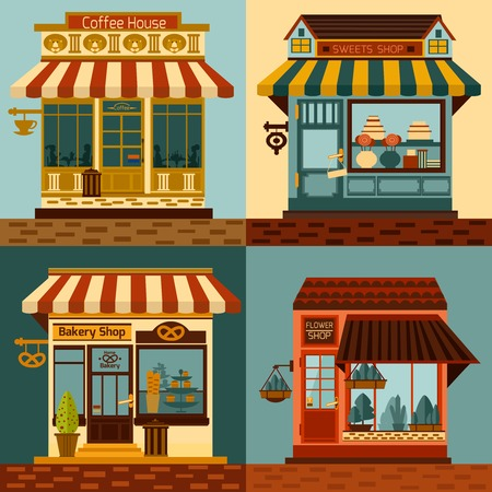 houses street: Shops facades set with sweets bakery and coffee house fronts isolated vector illustration