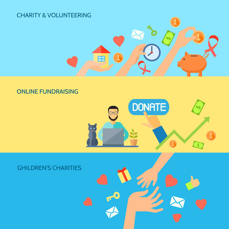 charity collection: Giving hands charities online fund raising for children 3 horizontal flat banners homepage abstract isolated vector illustration