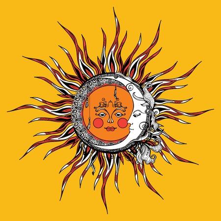 Tribal stijl zon en de maan met getrokken antropomorfe gezicht hand vector illustratie