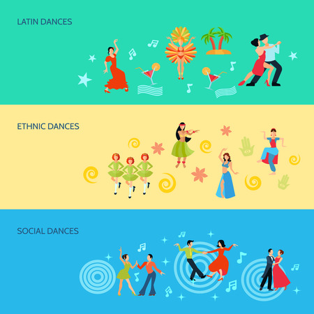 jive: Horizontal flat style banners with latin ethnic and social dances isolated vector illustration