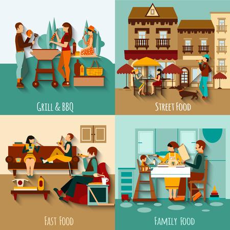 Las personas que comen fuera concepto de diseño conjunto con la ilustración vectorial calle de comida rápida iconos planos aislados