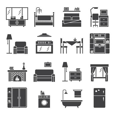 Inter und Möbel schwarz weiße Symbole mit Wohnzimmer Schlafzimmer und Küche gesetzt flachen Vektor-Illustration isoliert Vektorgrafik