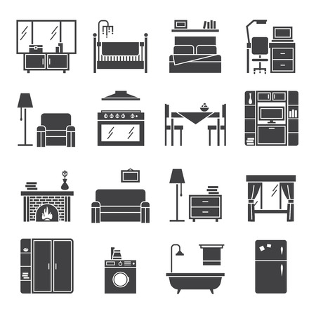 Interior and furniture black white icons set with living room bedroom and kitchen flat isolated vector illustration Illustration