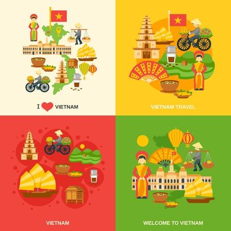 베트남의 디자인 컨셉은 아시아 여행 평면 아이콘 고립 된 벡터 일러스트 레이 션 설정
