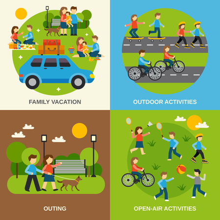 family vacations: Outing design concept set with family vacation isolated vector illustration